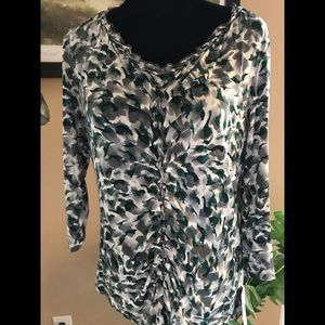 Dana Bachman NWT Ladies Ruched-Front Blouse; SZ M.